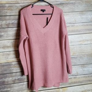 Ambiance Apparel Mauve Ribbed Sweater Size L